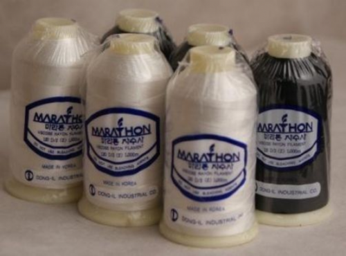 Marathon Embroidery Thread RAYON 6 Pack - Black & White
